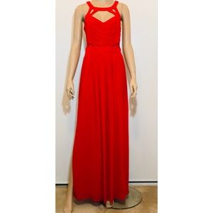 BCBGGeneration Rouge Red Chiffon Lace Sz 6-Tall